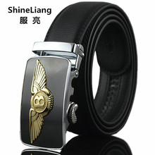 Hot Men's Automatic belt High quality Gold Silver Bronze alloy buckle Body width 3.5CM Designers famous brand Luxury leatherette(China)