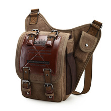 Brand Retro Leather & Canvas Military Style Messenger Bag Men's Leather Shoulder Bags Crossbody Bag men Male Waist Bag Zipper Ba