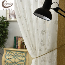 {Byetee} Modern Embroidered Luxury Bland Door Tulle/Gauze/Voile New Design Curtains Free Shipping white curtains