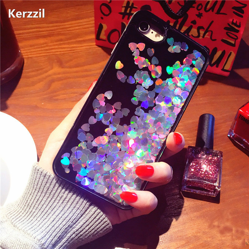 Luxury Bling Heart sequins Flowing Liquid Phone Case iPhone 7 6 6S Plus Hard Phone Cover iPhone 6 7 6S Back Capa