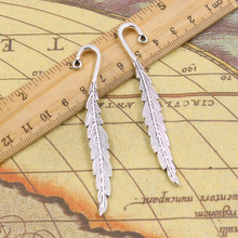 10pcs Charms bookmarks feather 80mm Tibetan Silver Plated Pendants Antique Jewelry Making DIY Handmade Craft