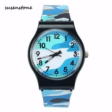 Susenstone New Fashion Casual Kids Watch Camouflage Children Quartz Wristwatch Girls Boy Clock Silicone Kids jelly Watch Saat(China)