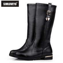 SIMLOVEYO Autumn winter boots Woman half knee boots flat Female Fashion boots Buckle Black White Red Fashion Hot Big size QH3429