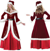 Adult Womens Miss Santa Claus Red Christmas Party Cossplay Cosplay Costume Fancy Dress Velvet Outfit Xmas and Hat