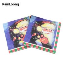 [RainLoong Blue Santa Paper Napkins Christmas Festive & Party Tissue Napkins Decoration Guardanapo 33cm*33cm 20pcs/pack