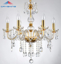 CRK 6 Arms Modern Crystal Chandelier Lustre Light , with 100% K9 Crystal Pendants  (B CCSP8006-6) D550mmXH600mm