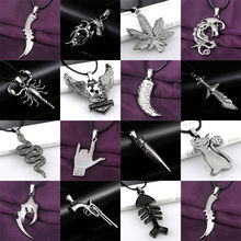 Gun Bullet Eagle Knife Sleeping Dragon Necklace Leather Chain Stainless Steel Pendant Fashion Men Women Necklaces Jewelry