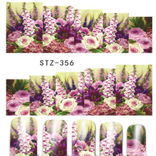 1 Sheets New 2017 Latest  Nail Art Sticker Full Cover Rose Purples White Designs for Women Nails Watermark Tattoos STZ356