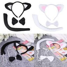 Cute Animal Tail & Ear Headband Bow Tie 3Pc Tail Party Little Cat Fancy Dress Costume For Christmas Halloween Carnivals