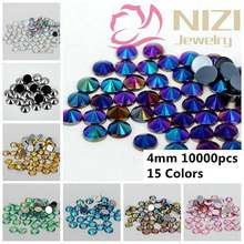 10000pcs 4mm Acrylic Rhinestones Multi AB Colors Flatback Pointed Round Design Use For Garments Shoes Bags Nail Art Decorations