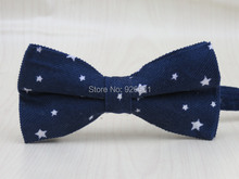 100% corduroy fabric men's dark blue bowtie /white Small five-pointed star pattern fashion leisure style bow tie free shipping(China)