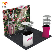 Exhibition Booth System Design Tension Fabric Trade Show Fabric Backwall With Shelf (No TV) +Arylic Shelf Display Rack +Counter