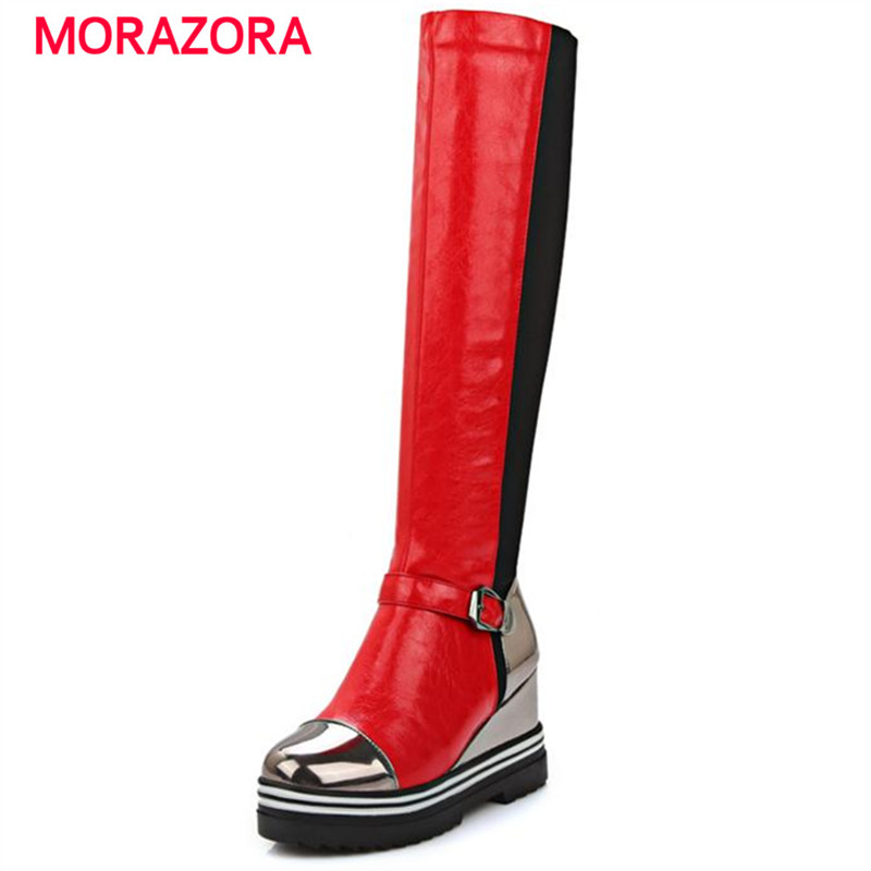 MORAZORA Round toe knee high boots platform height increasing long boots autumn fashion high heels boots buckle women shoes<br>