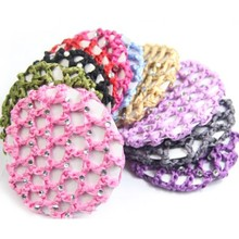 Women Lady Hair Accessories Pink Girl Beautiful Bun Cover Snood Hair Net Ballet Dance Skating Crochet with Diamond