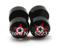 free shipping piercing body jewelry black acrylic red&black star logo picture fake earrings ear plug 8mm(China)