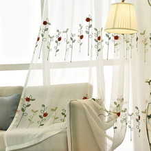 Modern Simple Polyester Cotton Tulle Fabric Embroidered Leaves Animal Screen Curtains Yarn Living Room Bedroom Dedicated Fabrics