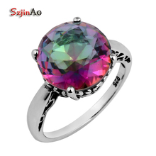 Szjinao Wholesale Fashion 925 Sterling Silver Ring Border Flowers Copy Antique art Rainbow Cubic Zirconia Ring Women Wholesale