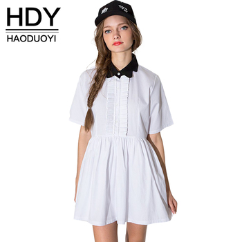 HDY Haoduoyi Fashion Pleated Mini Dress Women Short Sleeve Female A-line Dress Preppy Style Sweet White Casual Dress Vestidos