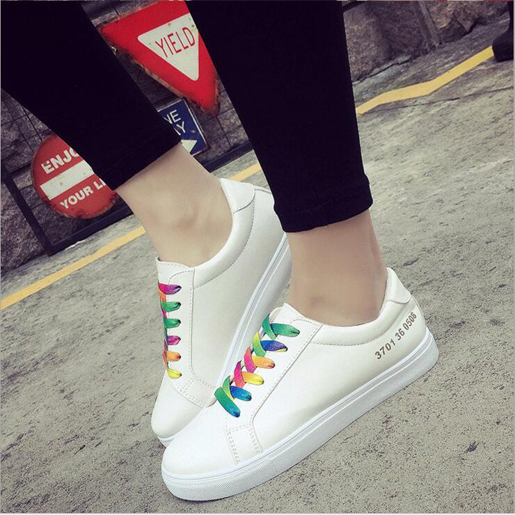 New Hot Sale High quality pu fashion Rainbow Shoelaces women casual shoes womens white shoes Green tail Shoes jx267-2<br><br>Aliexpress