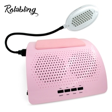 Rolabling New Arrival 40W Pink 110V&220V Nail Dust Collector Manicure Machine with LED Lamp Nail Art Equipment(China)