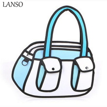 3D Bags Novelty Hand Bag School Bag 3d Drawing Cartoon Paper Comic Handbag Women Shoulder Bag Messenger Color Gifts For Bolsa