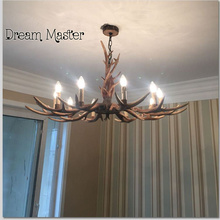 American living room Retro Art Chandelier Nordic country antler chandelier clothing store villa candle lamp