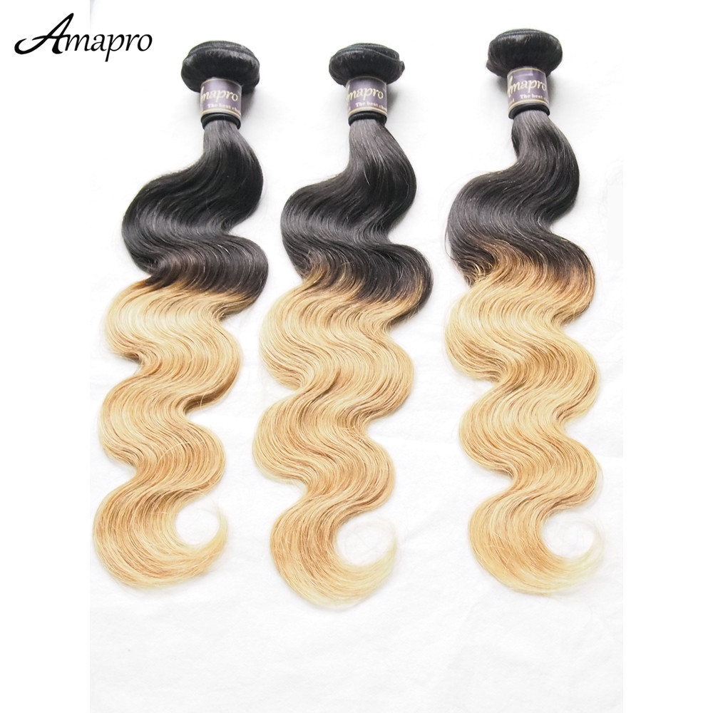Amapro Hair Product 8A Top Grade Brazilian Ombre Human Hair Body Wave 1b/30 Two Tone Color  Human Hair Extension 3bundles/lot<br><br>Aliexpress
