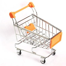 Mini Supermarket Handcart Shopping Utility Cart Mode Storage decoration craft Orange Gift for kids