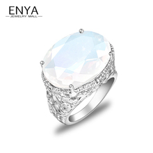 ENYA New Fashion Jewelry Wmen Gift Bijoux Hot Sale Unique Synthetic Moonstone Silver Plated Rings R0141