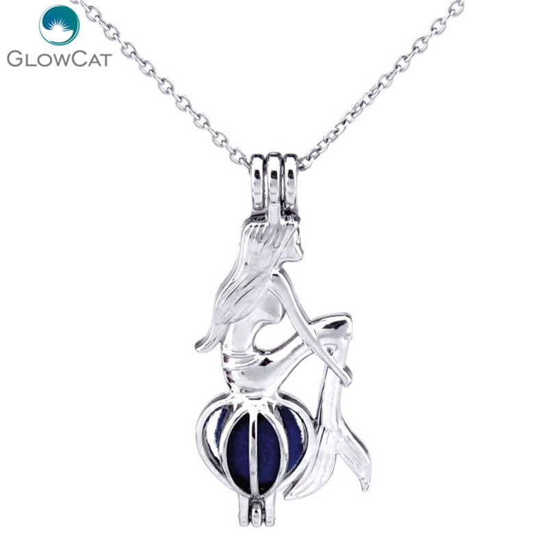 """H307  Black Plated 41mm Charming tail Mermaid  Pearl Cage Steel Necklace 18/"""""""