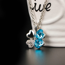 New fashion womens clothing accessories Silver plated simple chain crystal 4 leaves clover pendant necklace  XSN-962