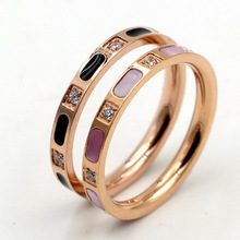Hot Sale Black Drop Oil / White Shell With Crystal Rose Gold Color Titanium Steel Rings(China)