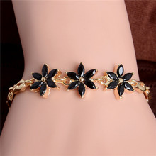 H:HYDE Hot Sale Gold Color Lovely Flower Austrian Crystal Beautiful Bracelet Jewelry For Women Gift Nice Shipping