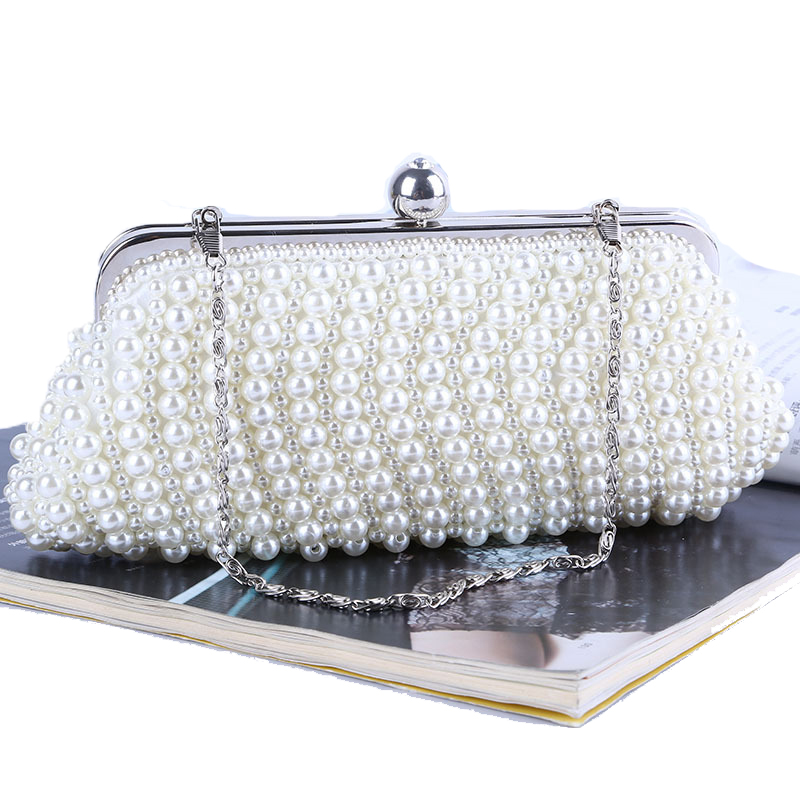 Clutch Shell Dress Evening Bags Beaded Women Evening Bag Pearl Wedding Bridal With Chains Shoulder Bag bolsas feminina<br>