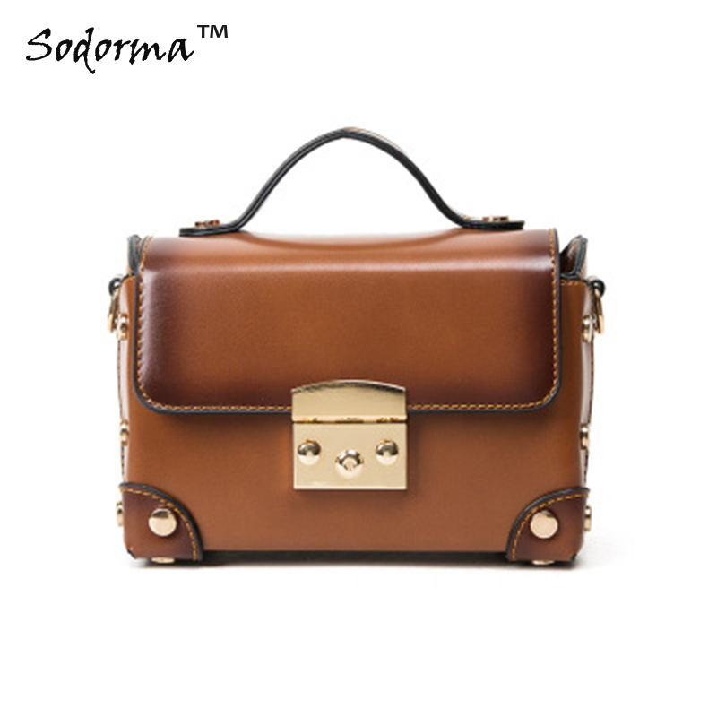 2017 New arrival Vintage style womens PU leather handbag shoulder cross-body bag tote Brief case bag messenger bag w lockbutton<br>