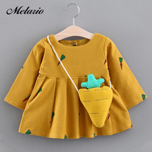 Melario Baby Dresses 2017 New Spring Autumn Baby Girls Clothes Carrot Printing Girls Party Dress Princess Dress Newborn Dress(China)