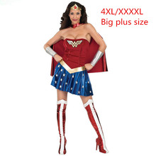 Plus Size XXXXL 4XL Super Girl Ladies Wonder Woman Costume Fancy Dress Women Halloween customes blue women supergirl costumes