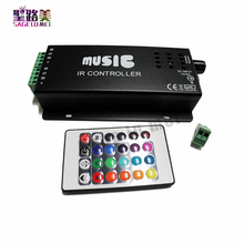 2016 best price DC12-24V 24 Keys music controller IR remote RGB controller Sound Sensitive for 5050 3528 led strip light lamp(China)