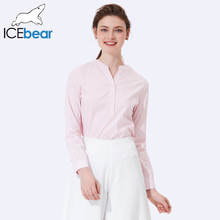 ICEbear 2017 New Arrival Autumn Female Three Quarter Sleeve Cotton Shirts Summer Thin Breathable Slim V-neck Shirts Woman 2009D