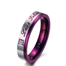 Love Taken Purple Women's Ring Titanium Steel Unique Cubic Zirconia Pinky Ring For Lady Vintage Jewelry(China)
