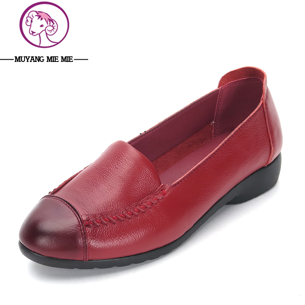 MUYANG MIE MIE Brand Spring Women Flats 2017 Fashion Genuine Leather Flat Shoes Woman Soft Casual Loafers Slip-On Womans Shoes<br>