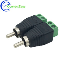 10Pcs CCTV Phono RCA Male Plug to AV Terminal Connector Video AV Balun Adapter
