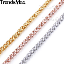Trendsmax Customized ANY Length 5mm Gold Filled Chain Necklace Mens Womens Wheat Link Chain  Wholesale Jewelry GN304