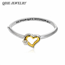 "QIHE JEWELRY ""A life without paws,is a life without love"" Crystal Paw Print Heart Bangle Bracelet Pet Memorial Dog Lover Gift"