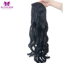 "Neverland 5 Clips 22"" 55cm One Piece #1B Black Wavy High Temperature Fiber Women Hairpiece Synthetic Clip in Hair Extensions(China)"