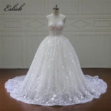 Buy Eslieb New Design Custom made Ball Gown Lace Wedding Dresses 2018 Zipper Back Sexy Vintage Wedding Gowns Sweetheart Bridal dress for $540.76 in AliExpress store
