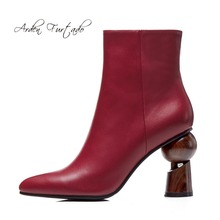 아덴 Furtado autumn winter fashion 이상한 힐 9 센치메터 burgundy ankle boots shoes woman genuine leather 첨 발가락 matin boots(China)