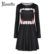 Rosetic Gothic Dress Women Spring Black Full Sleeve A-Line Print Fashion Halloween Dress Wild Streetwear Graffiti Casual Dress(China)
