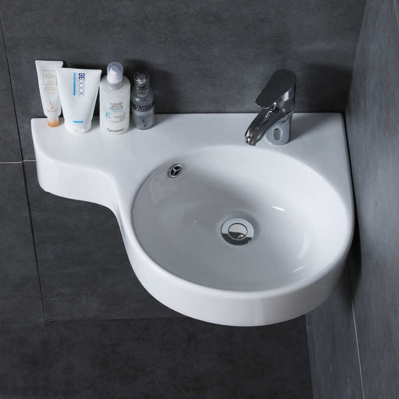 . Bathroom corner basin hanging basin sink small mini apartment wall mounted  ceramic triangle washbasin wx11201153
