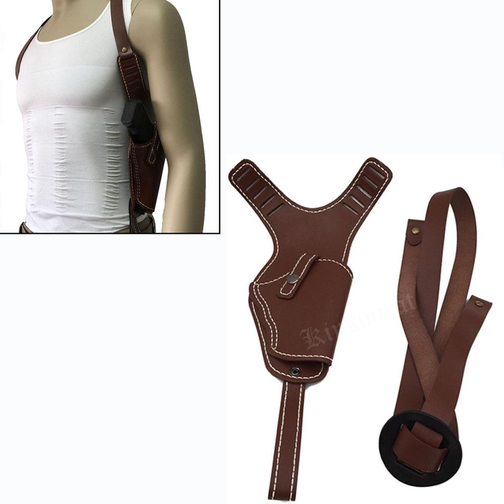 Airsoft Vertical Genuine Leather Shoulder Holster Right Hand Gun Holster Fits  Frame Auto Handguns Cowhide Gun Bag<br>